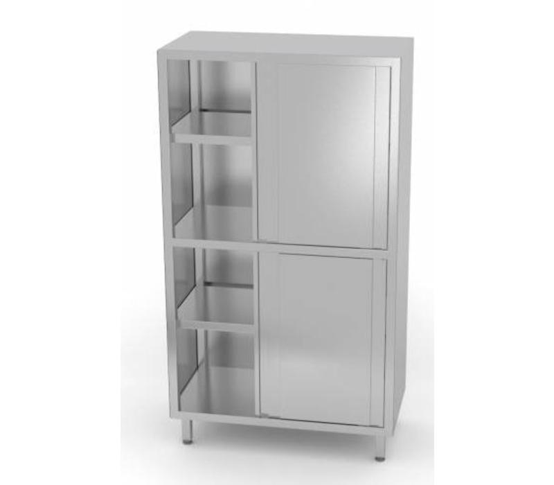 CHRselect  Armoire Vaissellier | INOX | 4 Portes Coulissantes | 3 Etagères | HEAVY DUTY | 800x500x1800(h)mm | Choix de 5 Largeurs