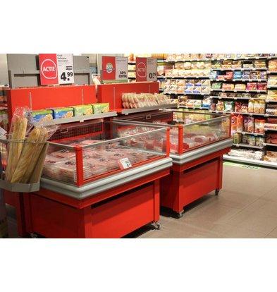Arneg Ilot Refrigéré |Verre Panoramique Rouge | (RAL3020) | 4 Roues Pivotantes | 121.8x100x (H) 102.6cm
