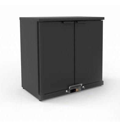Coreco Arrière-Bar 2 Portes | Noir | 2 Niveaux Réglables | 200 Litres | 92,5x52x(H)90cm