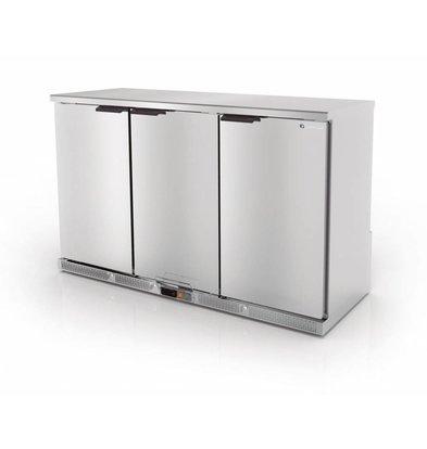 Coreco Arrière-Bar 3 Portes | INOX | 2 Niveaux Réglables | 305 Litres | 137,5x52x(H)90cm