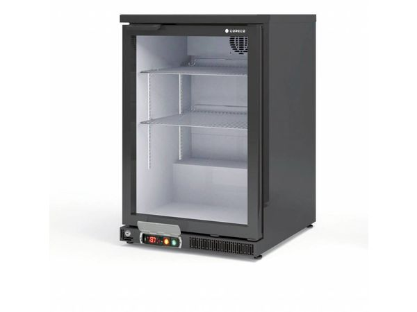 Coreco Frigo Bar   2 Portes   Noir   Porte en Verre   2 Niveaux réglables   130 Litres   62x52x(H)90cm