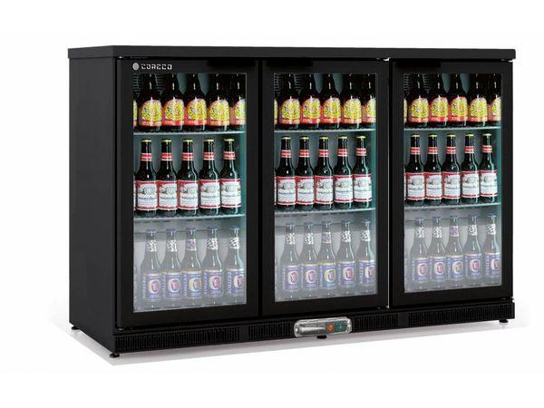 Coreco Frigo Bar | 3 Portes | Noir | Porte en Verre | 2 Niveaux réglables | 305 Litres | 137,5x52x(H)90cm