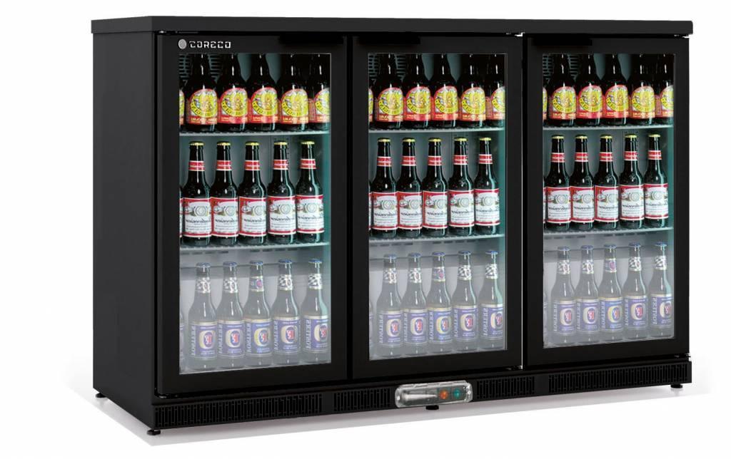 Frigo Bar | 3 Portes | Noir | Porte en Verre | 2 Niveaux réglables | 305  Litres | 137,5x52x(H)90cm