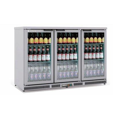 Coreco Frigo Bar | 3 Portes | INOX | Porte en Verre | 2 Niveaux réglables | 305 Litres | 137,5x52x(H)90cm