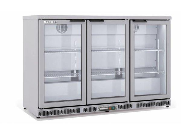 Coreco Frigo Bar   3 Portes   INOX   Porte en Verre   2 Niveaux réglables   305 Litres   137,5x52x(H)90cm