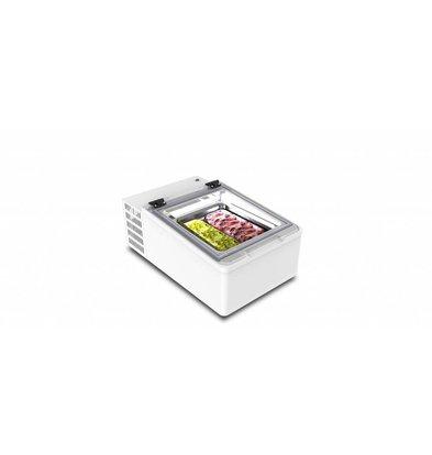 Framec Vitrine à Crèmes Glacées | Modèle de Table | Convient pour 2x Bacs 5 Litres | 49x79x(H)34,5cm