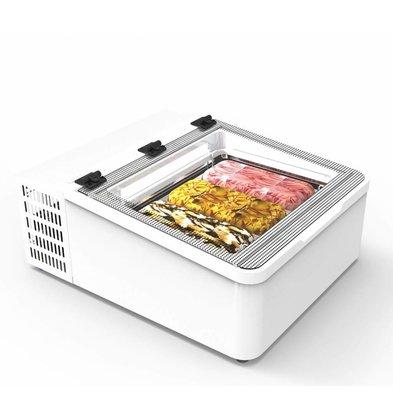 Framec Vitrine à Crèmes Glacées | Modèle de Table | Convient pour 3x Bacs 5 Litres | 65,4x79x(H)34,5cm