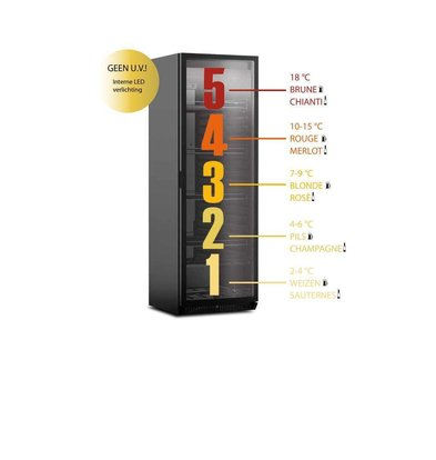 Framec Réfrigérateur pour Vins et Bières | 5 Compartiments | 4 Grilles Réglables | 380Litres | 60x59,8x(h)183cm | Porte Réversible
