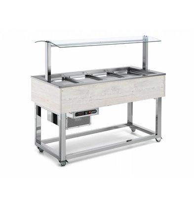 Afinox Buffet  Réfrigéré | Réfrigération Statique | 3x 1/1 GN | Afinox | Couleur Hemlock | 116,9x76x(H)132,6cm