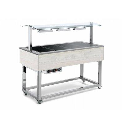 Afinox Buffet Chauffant | Plaques en Céramiques | 6x 1/1 GN | Afinox | Couleur Hemlock | 214,4x76x(H)132,6cm