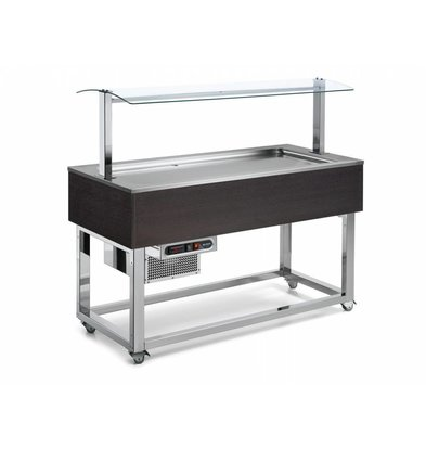 Afinox Buffet Réfrigéré  | Réfrigération Statique | 3x 1/1 GN | Afinox | Couleur Wengé | 116,9x76x(H)132,6cm