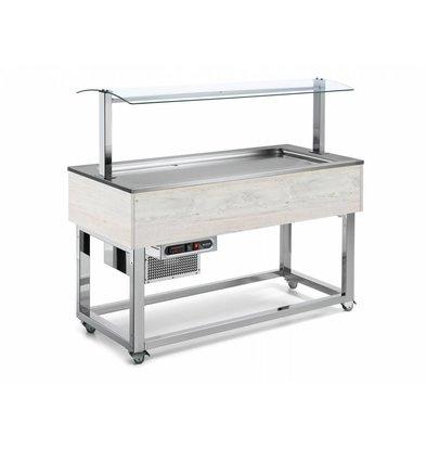 Afinox Buffet Réfrigéré  | Réfrigération Statique | 4x 1/1 GN | Afinox | Couleur Hemlock | 149,4x76x(H)132,6cm