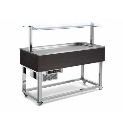 Afinox Buffet Réfrigéré | Réfrigération Statique | 4x 1/1 GN | Afinox | Couleur Wengé | 149,4x76x(H)132,6cm