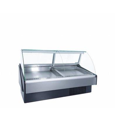Coolselect Comptoir Poisson Réfrigéré | Vitrine Bombée | Eclairage LED | INOX | 0°C / +4°C | 197x110x(H)120cm