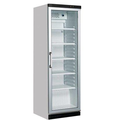 Kleo Réfrigérateur Blanc avec Porte Vitrée | Eclairage LED | 5 Grilles | 590x610x(H)1885mm