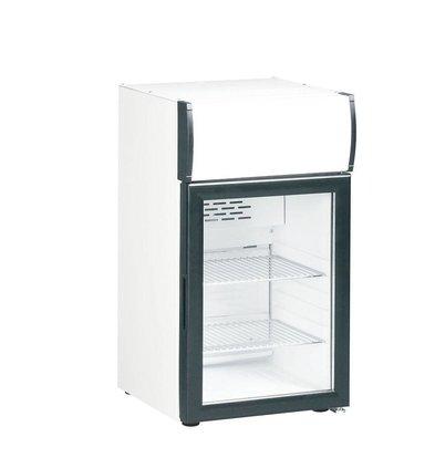 Kleo Réfrigérateur Boissons | de Table | Porte Vitrée | Eclairage LED | Blanc | 49,7x50,5x(H)84cm