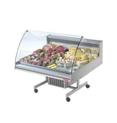 Oscartielle Comptoir Réfrigéré avec Vitrine | 4 Roues | 1288x1220x(h1030mm