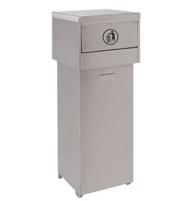 CHRselect Poubelle Fastfood - Mobile - INOX - 420x420x(h)1220mm
