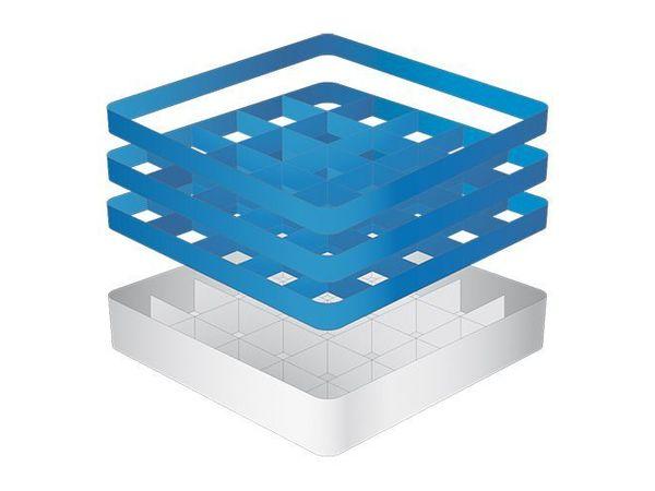 CaterRacks Casier à verres sans pieds - 25 compartiments - (h)20 cm - 9 cm de diamètre - a/réhausses (2x CR-25 + 1x