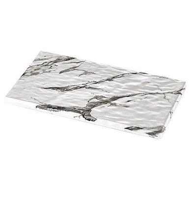CHRselect Plat d'étalage Blanc Aspect Marbre | Mélamine de haute qualité | Haute résistance à la rupture | 1/3 GN