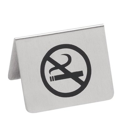 CHRselect Signe de Table No Smoking INOX | Imprimé 2 faces | 55x(H)45mm