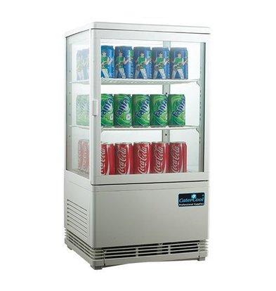 CaterCool Vitrine de Réfrigération Mini - Blanc - 58 Litres - 2 Grilles - 43x39x(h)81cm