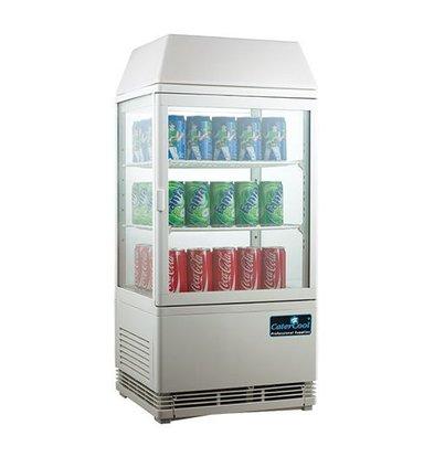 CaterCool Vitrine de Réfrigération Mini - Blanc - 58 Litres - Display Lumineux - 43x39x(h)93cm