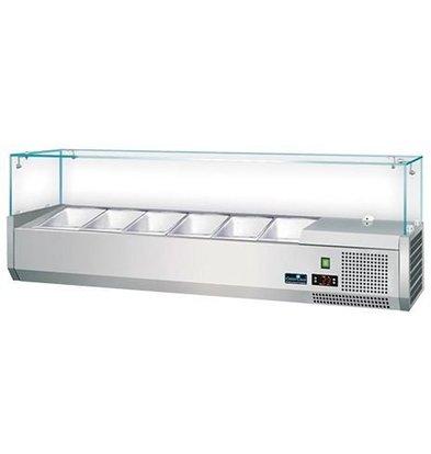 CaterCool Vitrine de Réfrigération INOX avec Haut en Verre - (cap.GN1/4x6-15cm) - 140x34x(H)44 cm