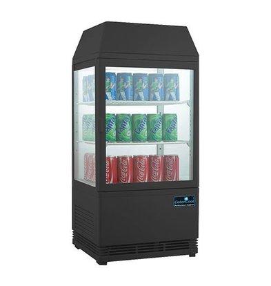 CaterCool Vitrine de Réfrigération Mini - Noir - 58 Litres - Display Lumineux - 43x39x(h)93cm