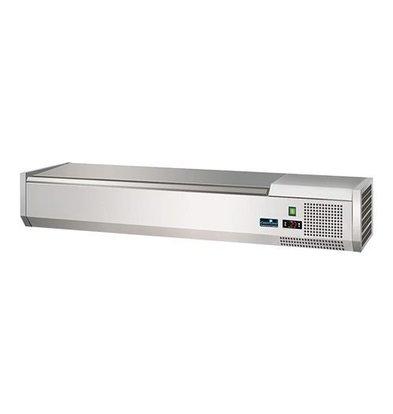 CaterCool Vitrine de Réfrigération -  (cap.GN1/4x5-15cm) - Couvercle INOX - 120x34x(H)24 cm