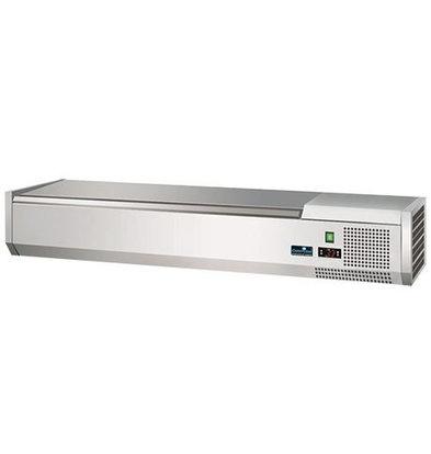 CaterCool Vitrine de Réfrigération -(cap.GN1/4x6-15cm) - Couvercle INOX - 140x34x(H)24 cm