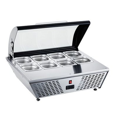 CaterCool Vitrine de Réfrigération INOX | (cap.GN1/6x8-10cm) | Réglage Thermostatique | 77x62x(H)33cm