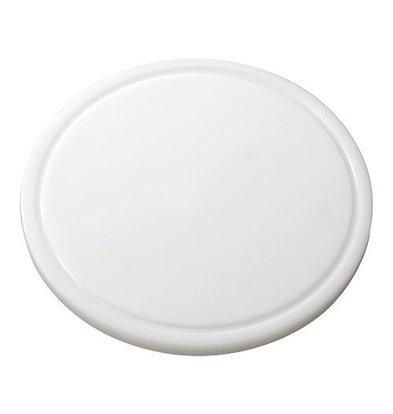 Emga Planche à Découper- HDPE 500 -Ø  300x20mm - Rainure Blanc