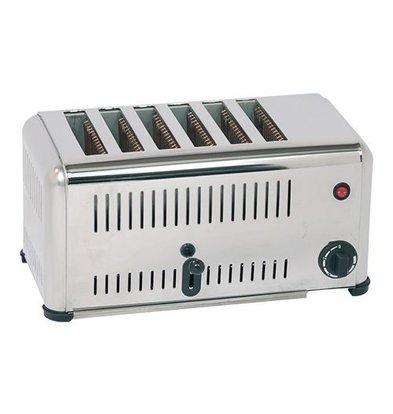 CaterChef Grille-pain INOX 6 fentes avec interrupteur d'économie d'énergie - 46x21x(H)23cm - 3000W