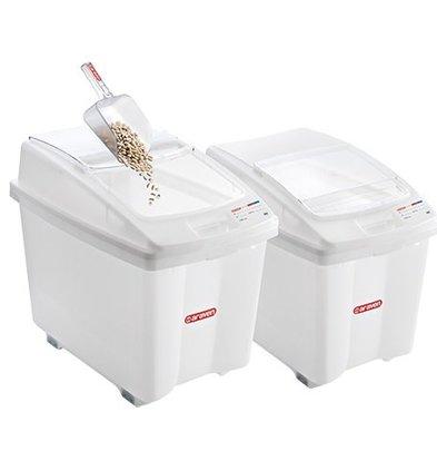 Araven Container tous usages Polyéthylène Blanc | à Roulettes | 700x460x(H)580mm | 100 Litres