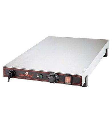 CaterChef Plaque Chauffante Électrique - INOX - 60x40x(h)9cm