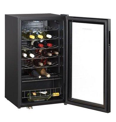 CHRselect Refroidisseur de Vin   pour 33 bouteilles  Noir Époxy   Afficheur à LED avec Porte en Verre   480x470x(H)840mm