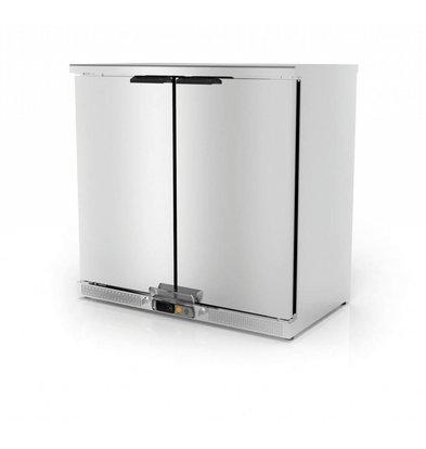 Coreco Arrière-Bar 2 Portes | INOX | 2 Niveaux Réglables | 200 Litres | 92,5x52x(H)90cm