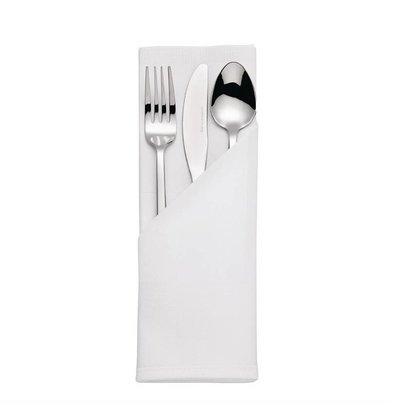 Mitre Luxury Pochettes à couverts / Serviettes | Bande de Satin | Blanc | 55x55cm | Lot de 10 pièces