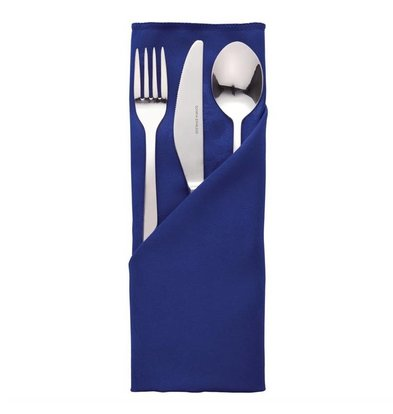 Mitre Luxury Pochettes à couverts / Serviettes Traditions | Bleu | 56x56cm | Lot de 10 pièces