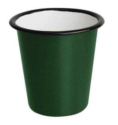 Olympia Gobelets en Acier Emaillé | Vert et Noir | Olympia 310ml  | 90(H) x 90(Ø)mm |  Lot de 6
