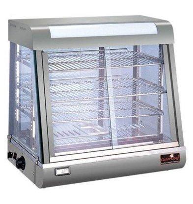 CaterChef Vitrine Chauffante Inox | 4 Grilles | Volets Coulissants | Éclairage LED | 690x440x(h)660mm