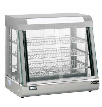 Bartscher Vitrine Chauffante Inox | 3 Grills | Portes Coulissantes | Éclairage LED | 660x437x655(h)mm
