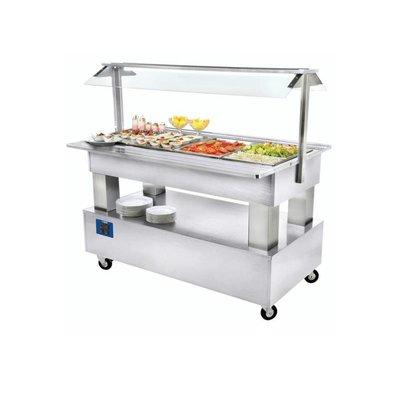 Diamond Buffet - Salad Bar Réfrigéré | 4x GN 1/1-150mm | Bois Blanc