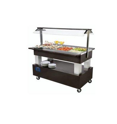 Diamond Buffet - Salad Bar Réfrigéré | 4x GN 1/1-150mm | Bois Wengé