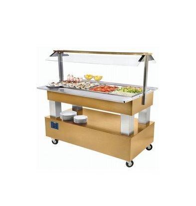 Diamond Buffet - Salad Bar Réfrigéré | 4x GN 1/1-150mm | Bois Clair