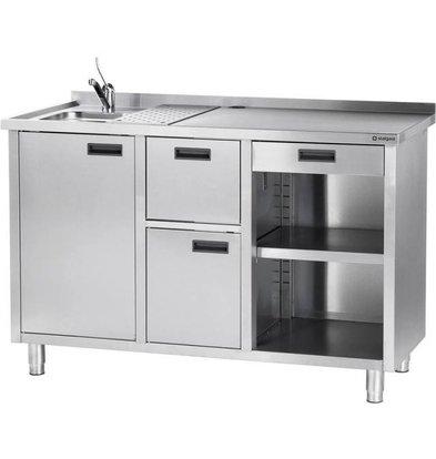 Stalgast Meuble pour Machine à Café | avec Egouttoir et Evier | 1500x700x(h)1000mm