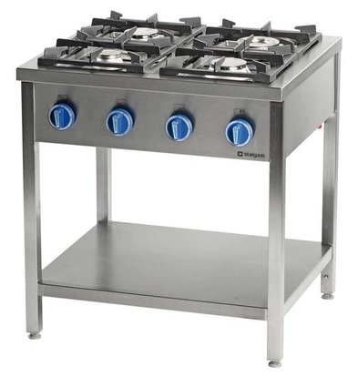 Stalgast Cuisinière à Gaz | 4 Brûleurs | avec Etagère | 800x700x(h)850mm | 20,5kW | G30/31 (Propane-butane)