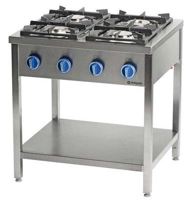 Stalgast Cuisinière à Gaz | 4 Brûleurs | 900 | avec Etagère | 900x900x(h)850mm | 22,5kW | G30