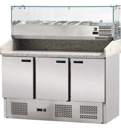 Stalgast Comptoir à Pizza Réfrigéré   3 Portes   avec Support Bacs GN   1400x700(xh)1450mm